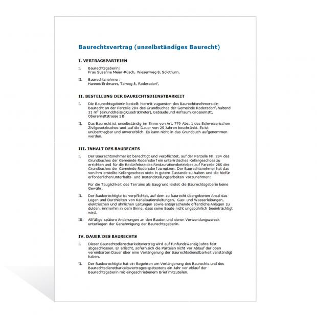 Baurechtsvertrag (unselbständiges Baurecht)