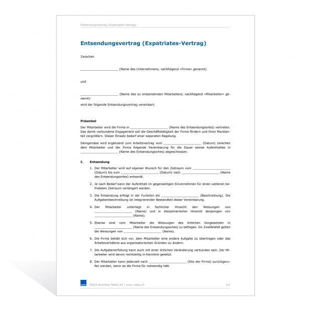 Muster Entsendungsvertrag in das Ausland