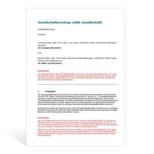 Muster Gesellschaftsvertrag (stille Gesellschaft)