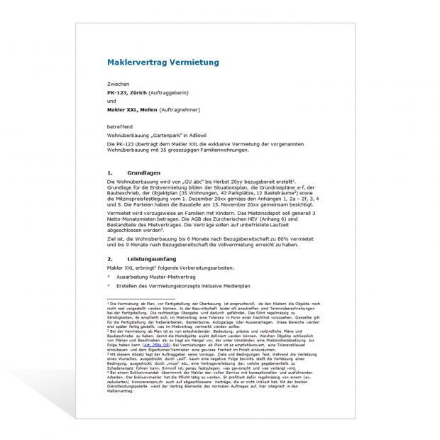Muster Maklervertrag Vermietung