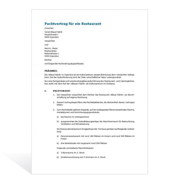Muster Pachtvertrag Gastronomie