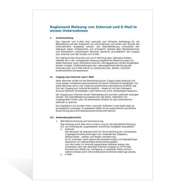 Muster Reglement Nutzung Internet und E-Mail