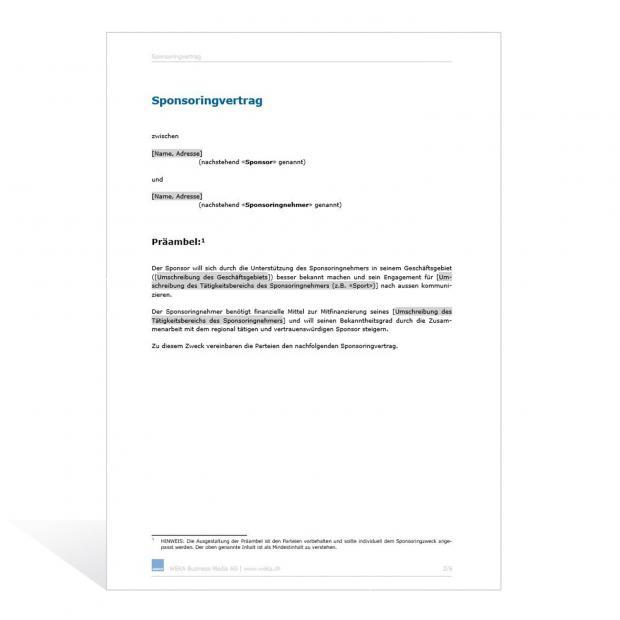 Muster Sponsoringvertrag