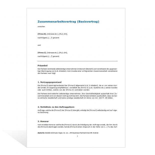 Muster Zusammenarbeitsvertrag