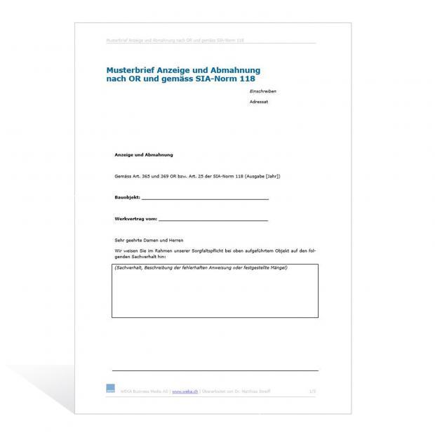 Musterbrief Anzeige und Abmahnung nach OR und SIA-Norm 118