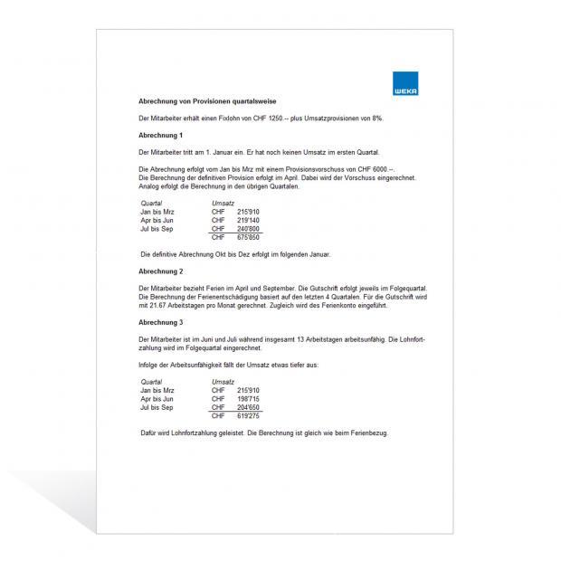 Rechner Provisionsabrechnung quartalsweise