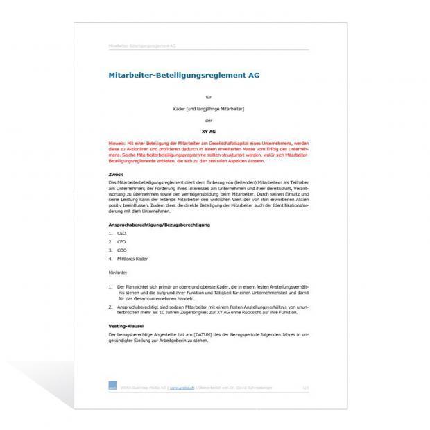 Muster Reglement Mitarbeiterbeteiligungen