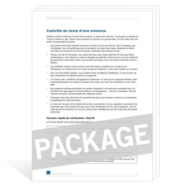Téléchargement package Contrat de travail à temps partiel FGE