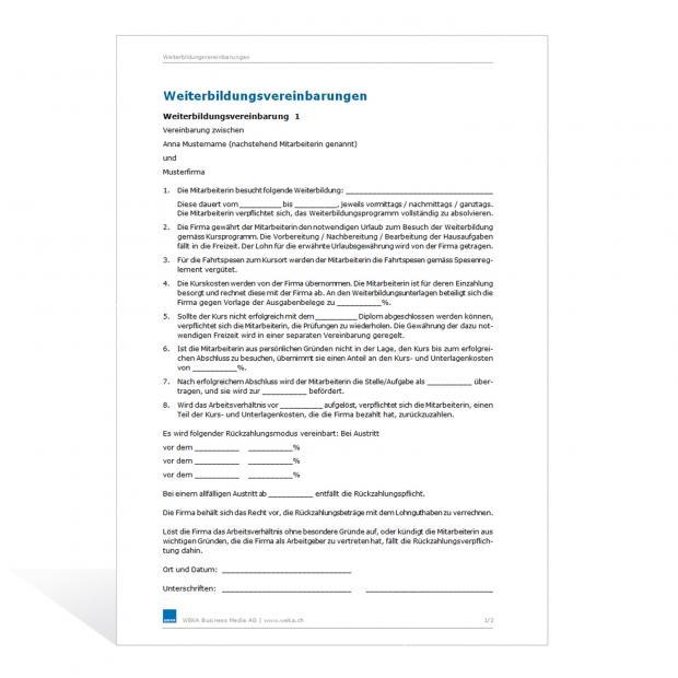 Muster Weiterbildungsvereinbarung