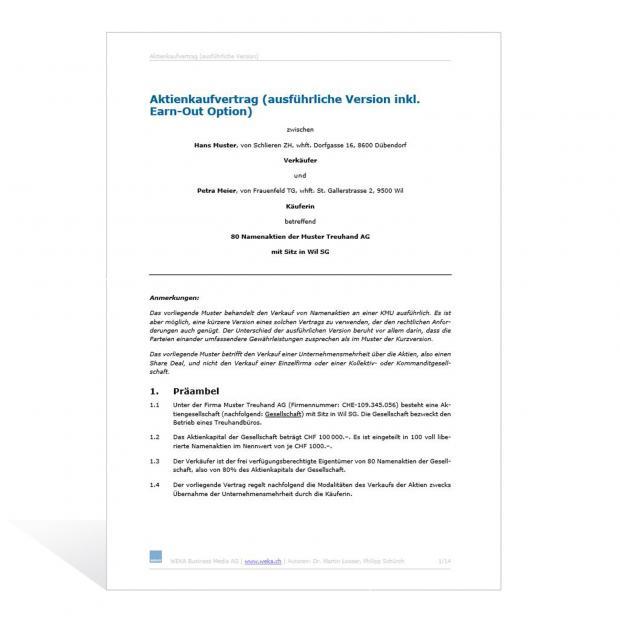 Muster Aktienkaufvertrag (ausführliche Version)