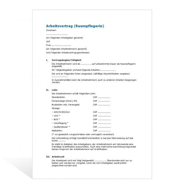 Muster Arbeitsvertrag Raumpflegerin
