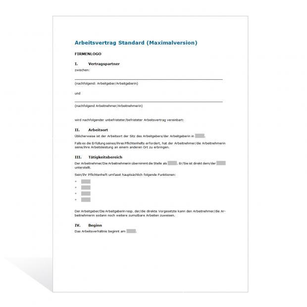 Muster Arbeitsvertrag (Maximalversion)