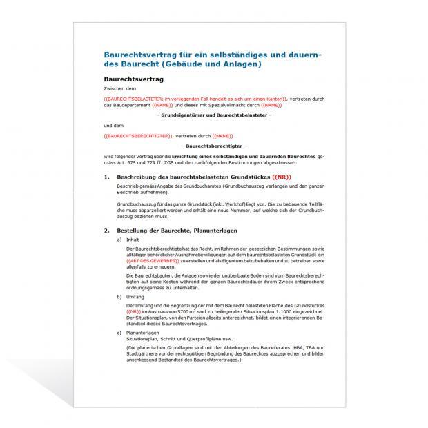 Baurechtsvertrag für ein selbständiges und dauerndes Baurecht
