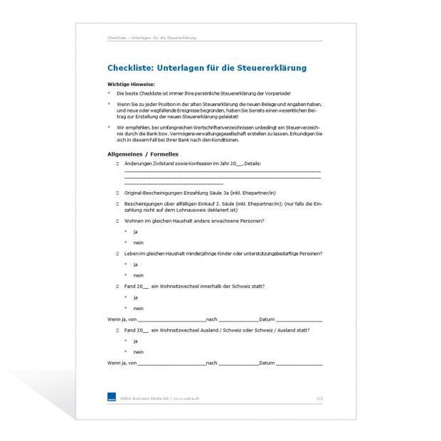 Checkliste Unterlagen Steuererklärung