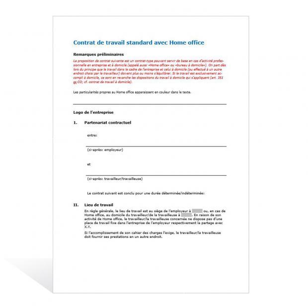 Contrat de travail standard avec Home Office