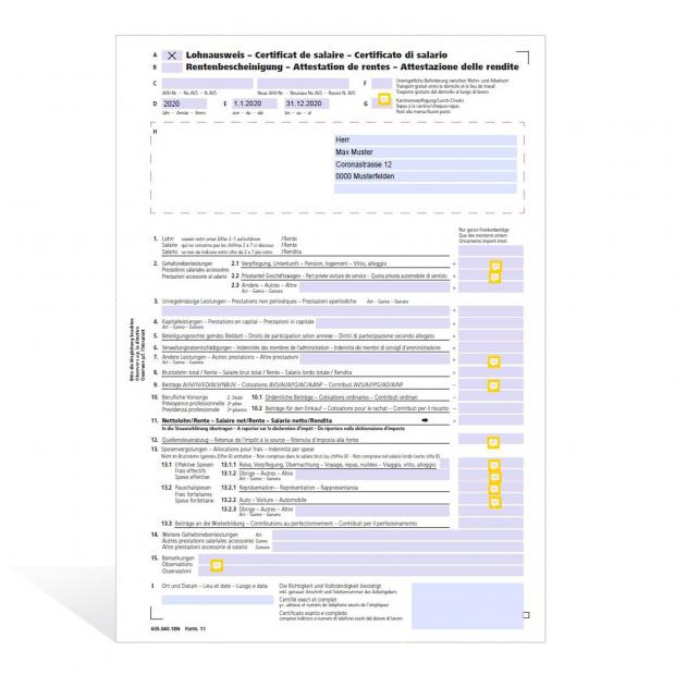 Musterlösung COVID-19-Auswirkungen auf den Lohnausweis