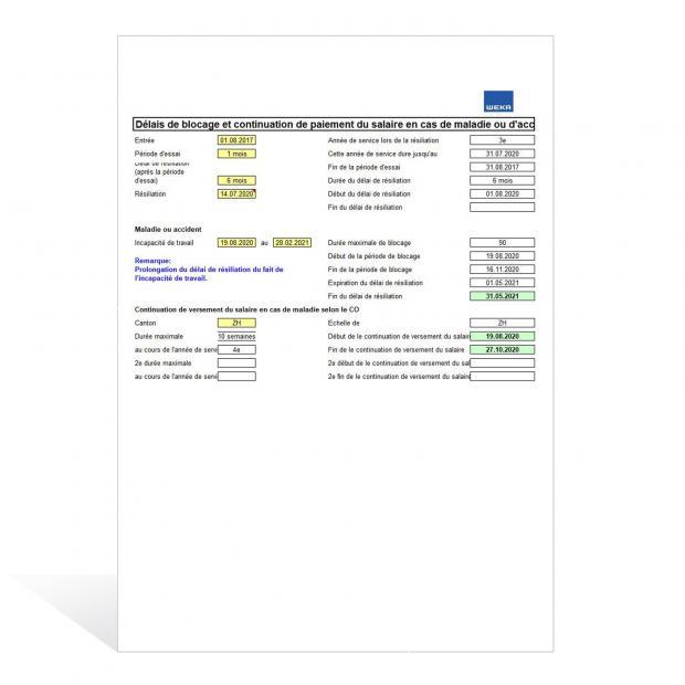 Calculateur de délais de blocage et continuation de paiement du salaire en cas de maladie ou d'accident
