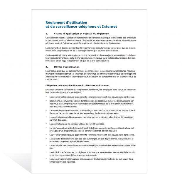 Modèle de règlement d'utilisation d'Internet et des e-mails
