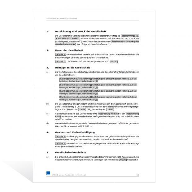 Muster Gesellschaftsvertrag (Einfache Gesellschaft)