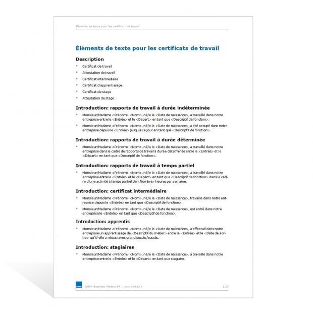 Eléments de texte pour les certificats de travail