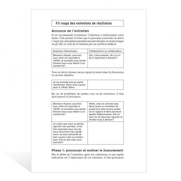Aide-mémoire Entretiens de résiliation