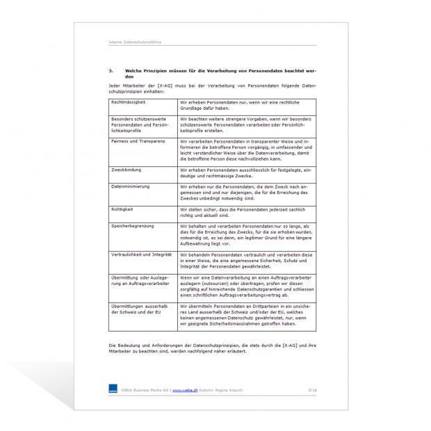 Muster Interne Datenschutzrichtlinie