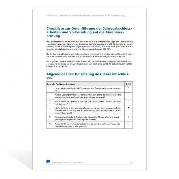 Checkliste zur Durchführung der Jahresabschlussarbeiten