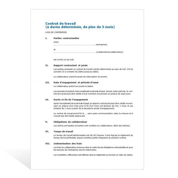 Modèle de contrat de travail à durée déterminée