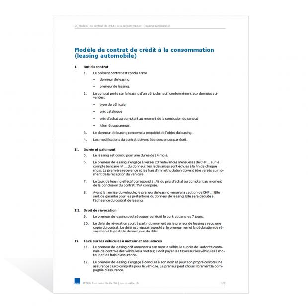 Contrat de crédit à la consommation (leasing automobile)