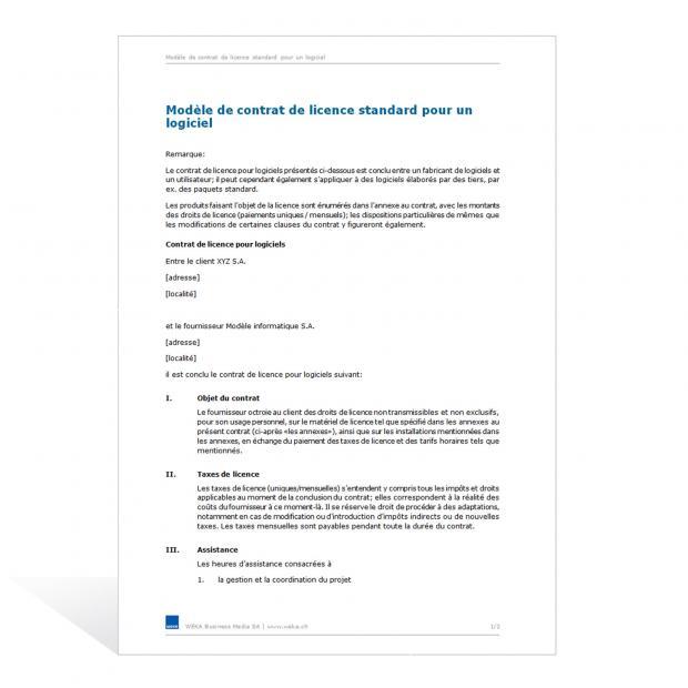 Contrat de licence standard pour un logiciel