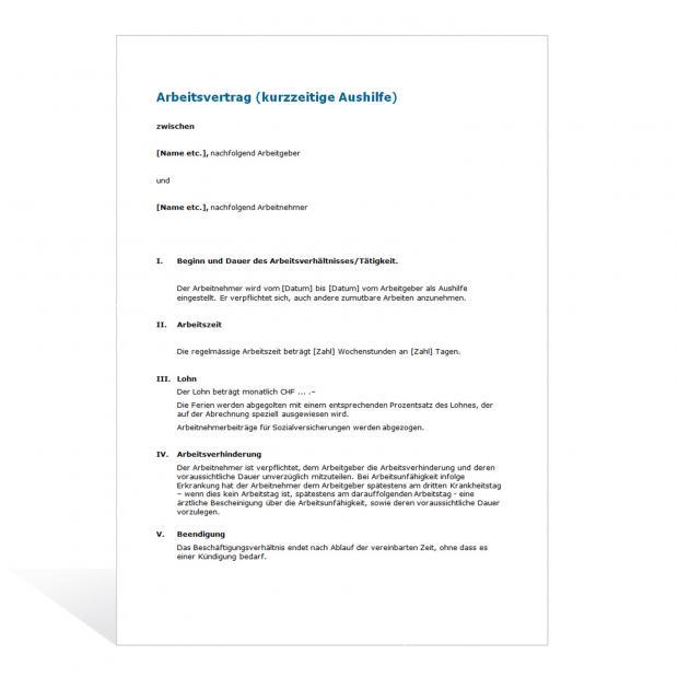 Muster Arbeitsvertrag kurzfristige Aushilfe