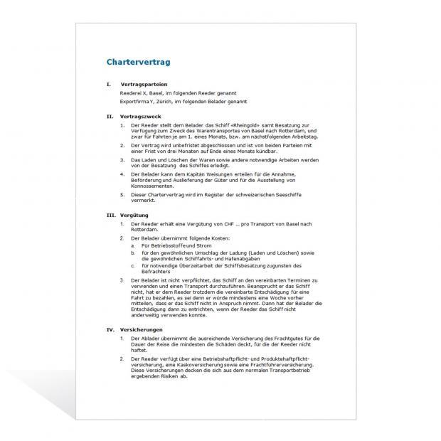 Muster Chartervertrag