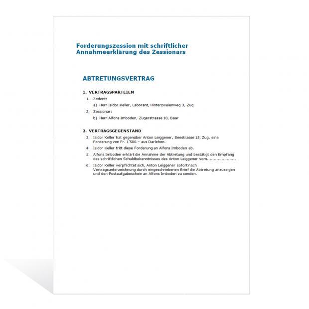 Muster Forderungsabtretung (Zession)
