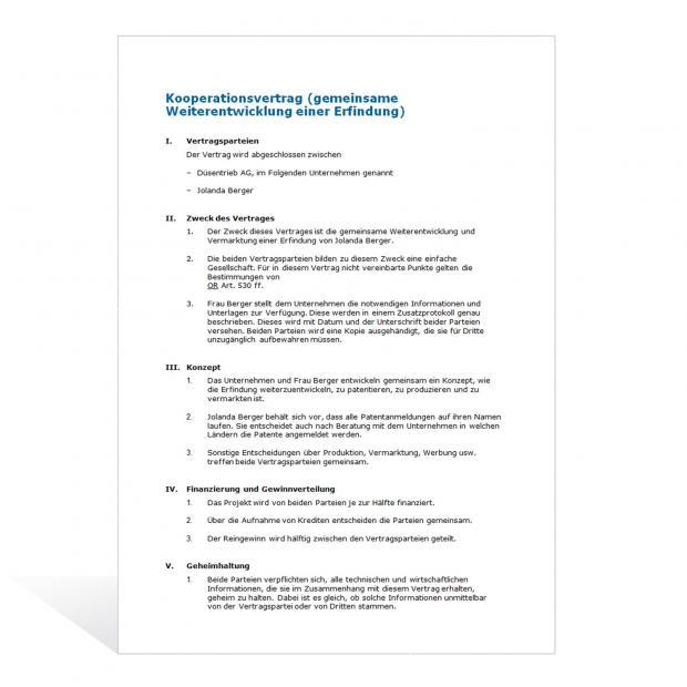Muster Kooperationsvertrag F&E