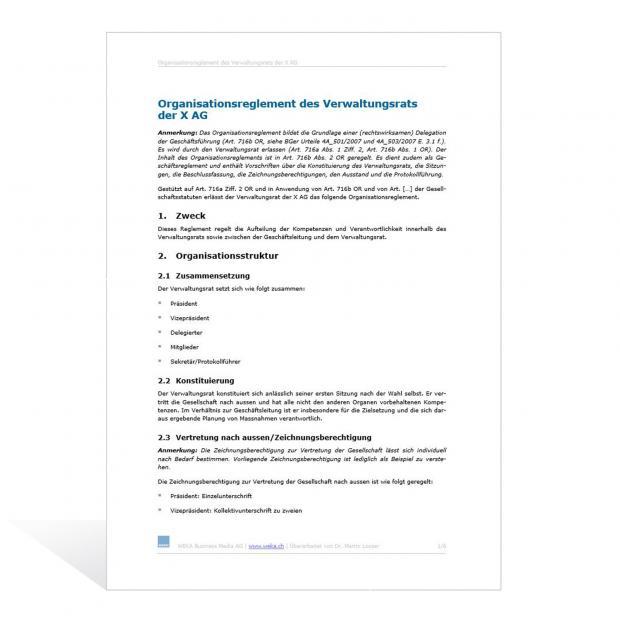 Muster Organisationsreglement des Verwaltungsrats einer AG