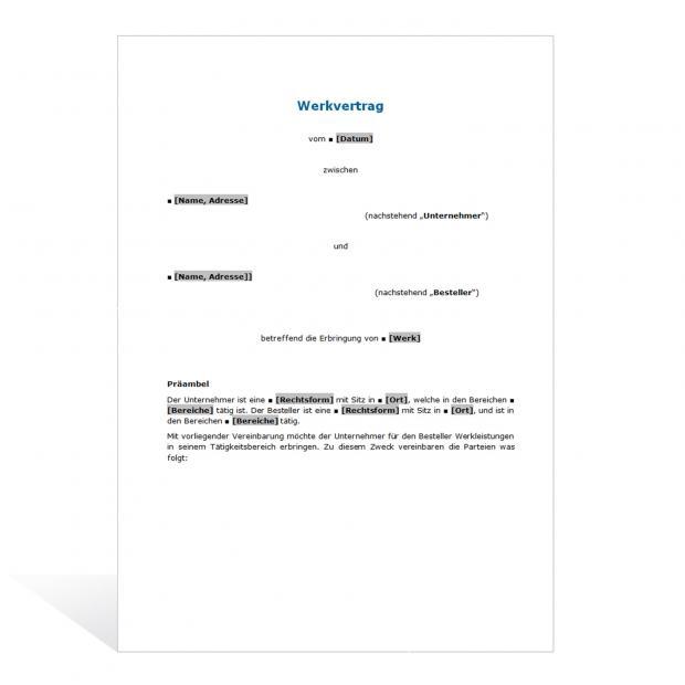 Muster Werkvertrag