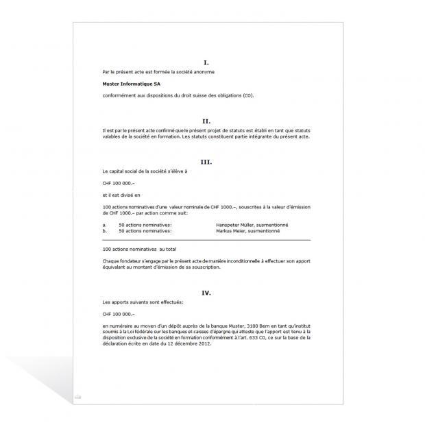 Procès-verbal Assemblée générale Création SA