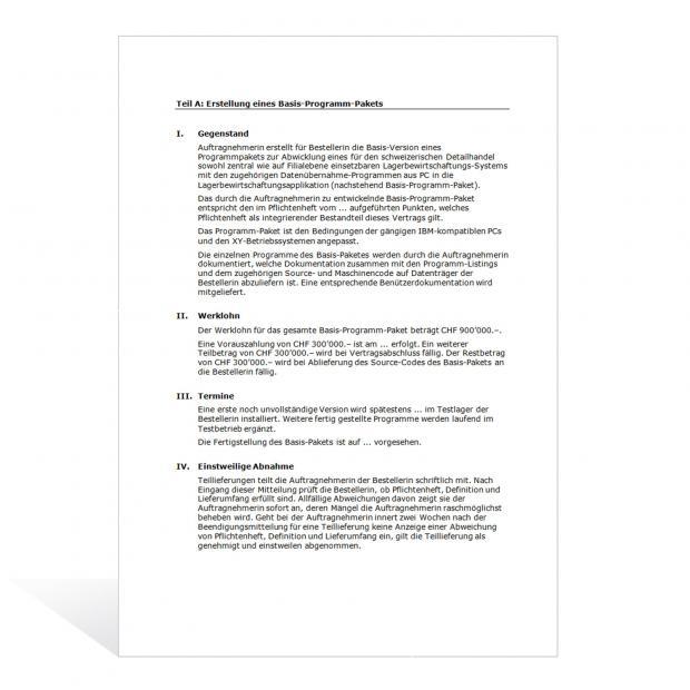 Muster Software-Vertrag (Entwicklung)