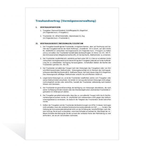 Muster Treuhandvertrag Vermögensverwaltung