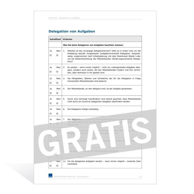 Checkliste Übernahme/Abgabe einer Verwaltung