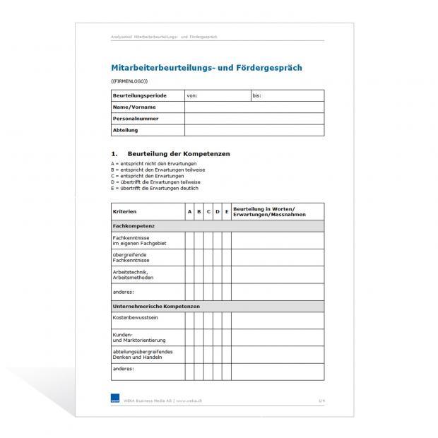 Vorlage Mitarbeiterbeurteilungs- und Fördergespräch