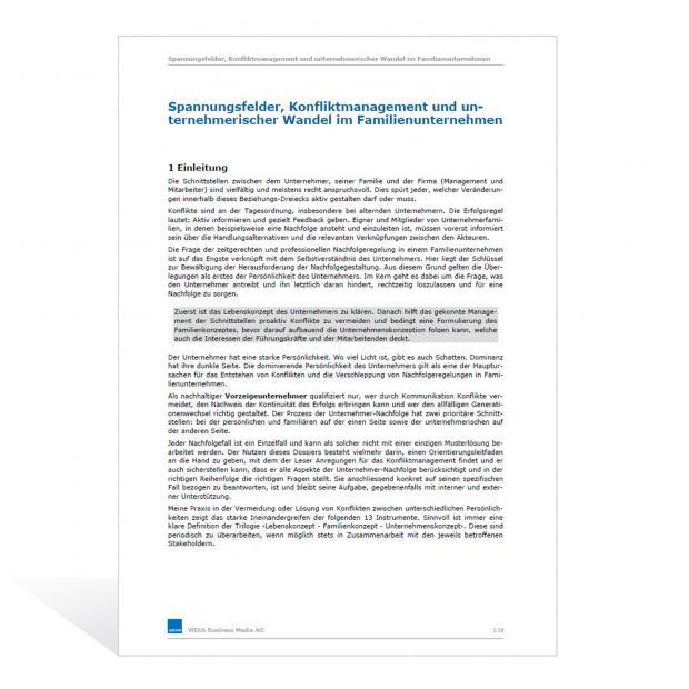 Konfliktmanagement und unternehmerischer Wandel im Familienunternehmen