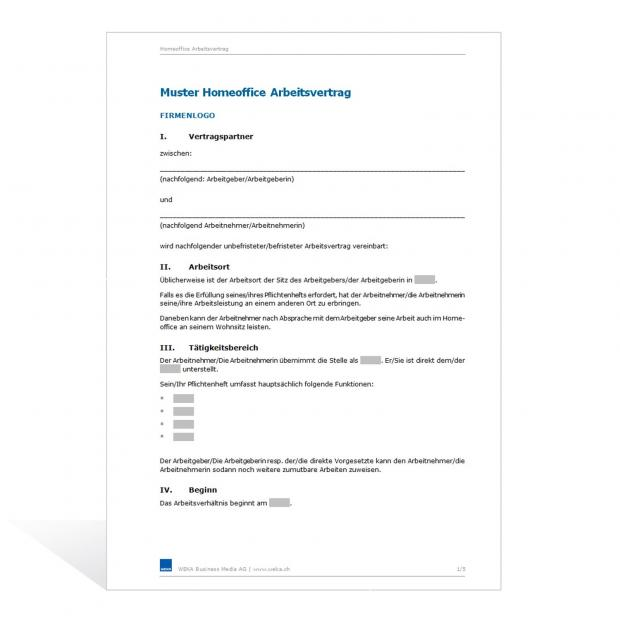 arbeitsvertrge fr mobiles arbeiten telearbeit homeoffice - Home Office Regelung Muster