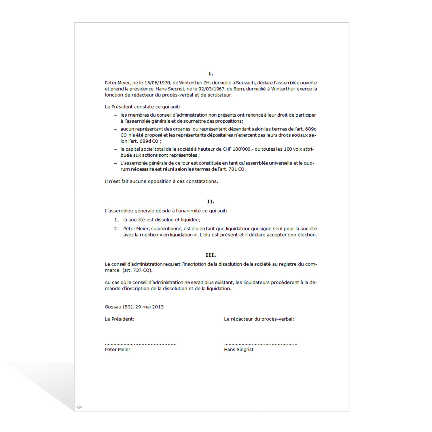 Plan of Liquidation and Dissolution of a Corporation