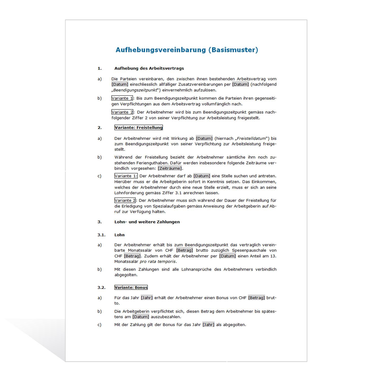 Weka Musterbriefe : Muster aufhebungsvertrag weka