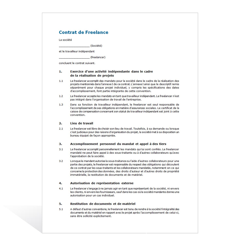 contrat de freelance.