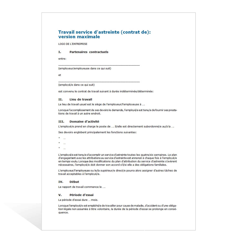 Contrat de travail service d 39 astreinte for Contrat construction
