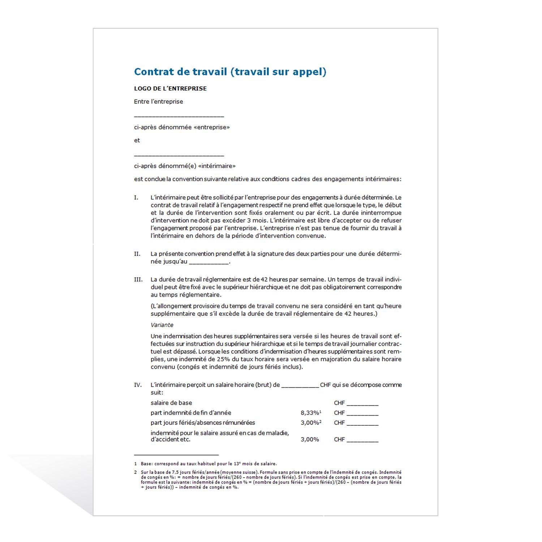 75f37bf5ec4 Modèle de contrat de travail (travail sur appel)