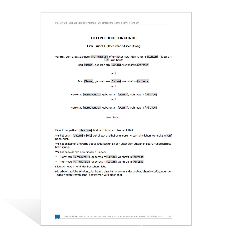 muster erb und erbverzichtsvertrag - Erbvertrag Muster