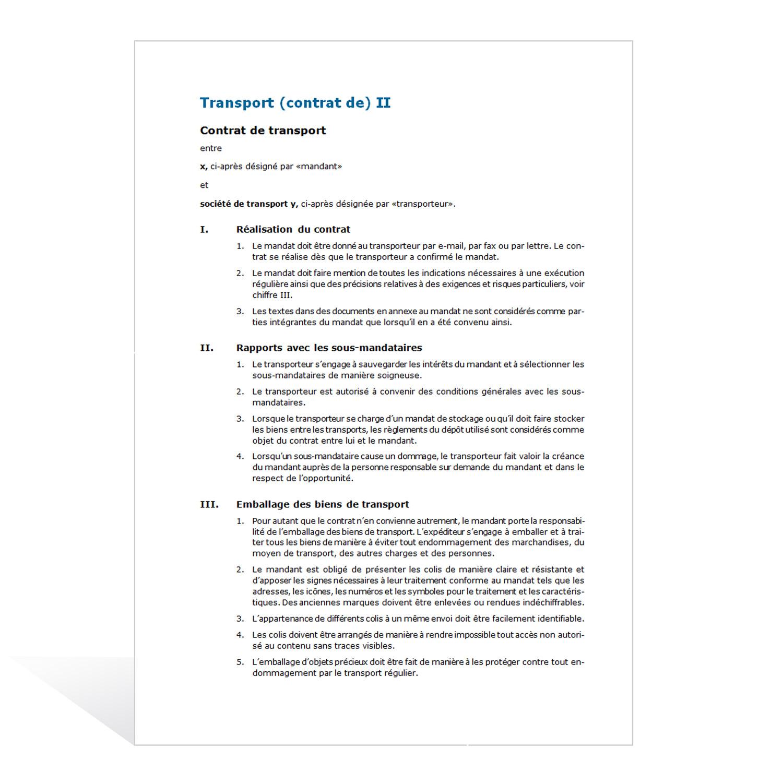 Mod Le De Contrat De Transport